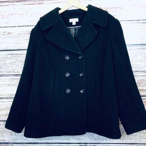 Preston & York Woman Black Wool Blend Coat 24W